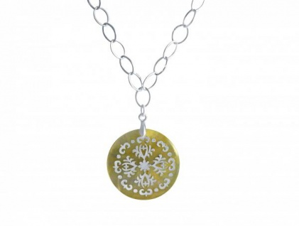Halskette Medaillon 925 Silber Perlmutt Creme 3 cm