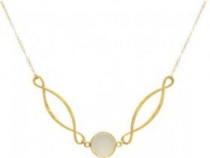 Halskette Anhänger INFINITY Silber Vergoldet DRUZY Weiß Quarz 55 cm
