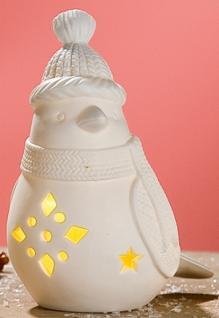 GILDE Windlicht Wintervogel mit LED Beleuchtung, matt weiß, 14, 8 cm