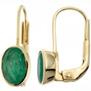 Boutons oval 333 Gold Gelbgold 2 Smaragde grün Ohrhänger Goldohrringe