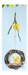 GILDE Weidenkranz Dekokranz aus Naturholz mit Vogel, 4, 5 x 15 x 58 cm