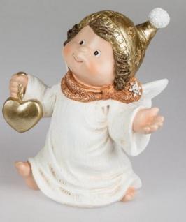formano Engel Figur Jule mit Herz in der Hand aus Kunststein, 28 cm