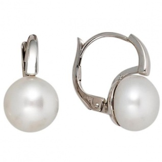 Boutons 585 Weißgold 2 Süßwasser Perlen Ohrhänger Perlenohrringe