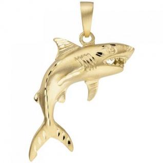 Anhänger Hai Haifisch 333 Gold Gelbgold teil matt Goldanhänger