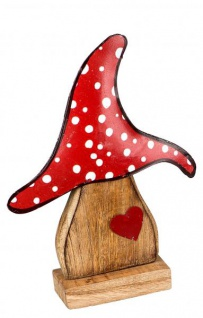Deko Pilz-Figur aus Mango-Holz mit Metall Herbstdeko-Figur zum stellen Garten-Figur und Innendeko rot 34cm
