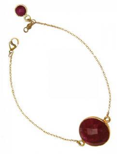 Damen Armband Vergoldet Rubin Rot Facettiert 19 cm