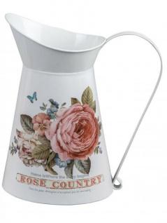 rustikale Deko-Krug mit Rosendekor Deko-Milchkrug antikes Bauerngefäß Bauerndeko Metallkanne Milchkanne Landhaustil weiß rosa 24cm