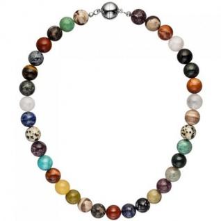 Halskette Kette mit Edelsteinen mulitcolor bunt 45 cm Steinkette