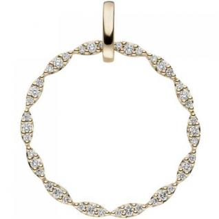 Anhänger rund 585 Gold Gelbgold 42 Diamanten Brillanten 0, 26ct.