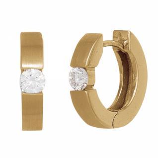 Creolen 585 Gelbgold mattiert 2 Diamanten Brillanten 0, 15ct. Ohrringe