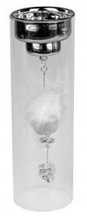Teelichthalter silber auf Glassäule mit Kristall-Deko 25 cm