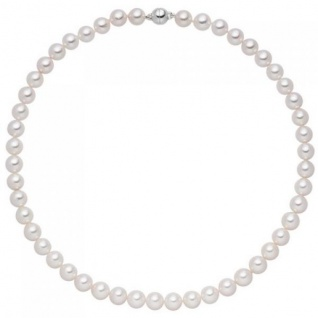 Halskette mit Akoya Perlen und 925 Sterling Silber 42 cm Perlenkette