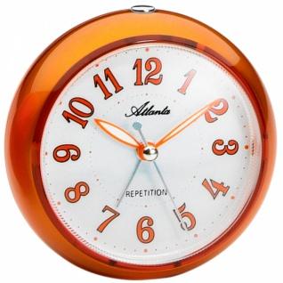 Atlanta 1725/12 Wecker Quarz analog orange rund ohne Ticken Licht