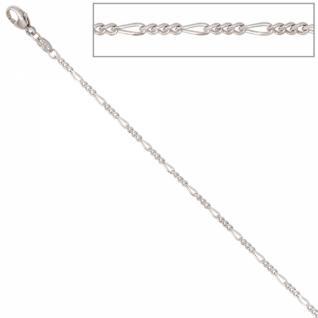 Figarokette 585 Weißgold 1, 7 mm 45 cm Gold Kette Halskette