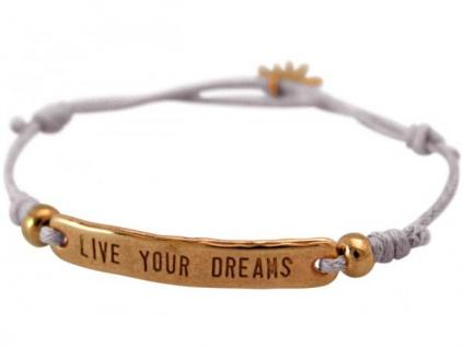Armband Gravur LIVE YOUR DREAMS Rose Vergoldet Hellgrau