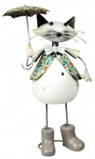 Windlicht-Katze Katzen-Deko Kater-Deko Kerzenhalter Teelichthalter mit Regenschirm Metall Porzellan weiß bunt 28cm