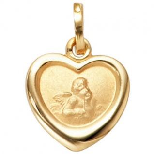 Kinder Anhänger Engel Schutzengel 333 Gold Gelbgold mattiert