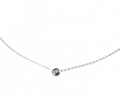 Damen Halskette 0, 03 Karat Diamant 925er Sterling Silber 42 cm - Vorschau