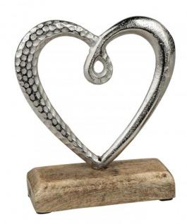 Herz auf Sockel Alu-Herz Dekoherz zum stellen mit Mangoholz silber natur 16 cm