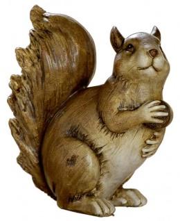 Eichhörnchen-Deko-Figur mit Eichel-Futter Herbstdeko und Winterdeko braun 13, 5x12x13 cm gross Nussknacker
