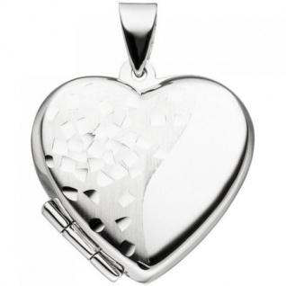 Medaillon Herz für 2 Fotos 925 Silber teil matt Herzmedaillon