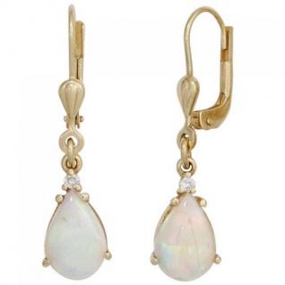 Ohrhänger Tropfen 585 Gold Gelbgold 2 Opale 2 Diamanten Ohrringe Opalohrringe