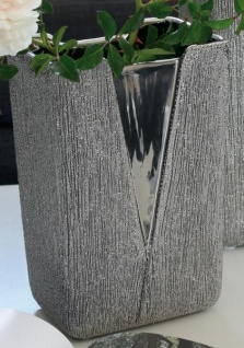 GILDE Moderne V-Vase aus Keramik, silber, 22 x 15 x 11 cm