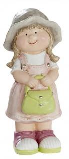 Deko-Figur-Kind Mädchen mit Schultasche stehend Gartenzwerg Wichtel Gartendeko Gartenfigur Frühjahrsdeko Sommerkind rosa grau grün 10x11x26cm