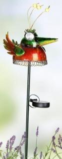 GILDE bunter Solar-Vogel aus Metall mit Gartenstab, 80 cm