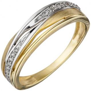 Damen Ring 333 Gelbgold bicolor teil matt mit Zirkonia Goldring