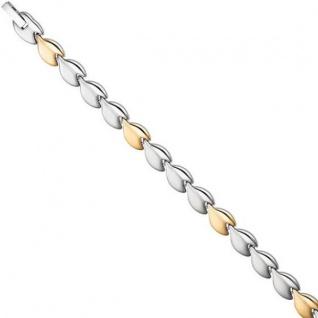 Armband Edelstahl mattiert gold farbene Beschichtung bicolor 20 cm