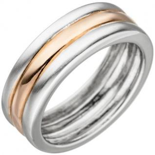 Damen Ring 925 Sterling Silber bicolor teil matt