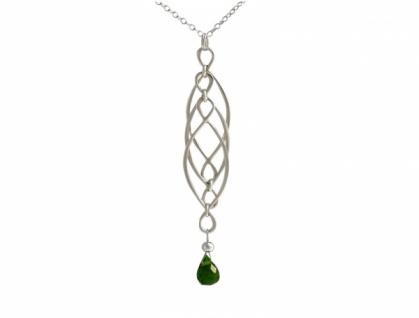 Halskette Turmalin Massiv 925 Silber Grün Shapes Infinity
