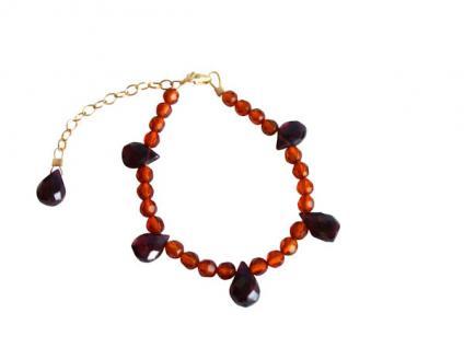 Armband aus Bernstein und Granat Vergoldet orange, rot
