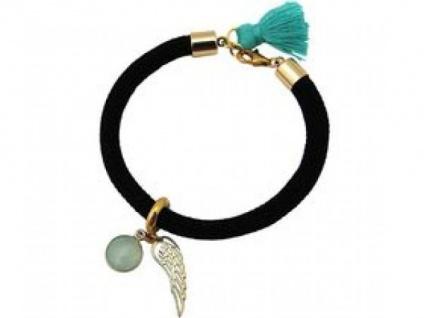 Armband Vergoldet Edelstein Aqua Chalcedon Engel Flügel Grün Schwarz