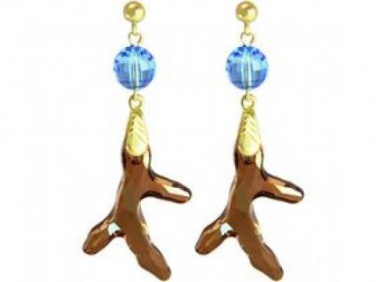 Ohrringe Vergoldet Koralle Goldbraun Orange Blau SWAROVSKI ELEMENTS