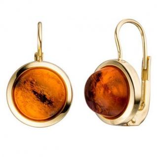Boutons rund 333 Gold Gelbgold 2 Bernsteine orange Ohrringe