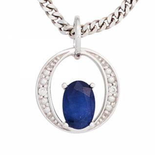 Anhänger 585 Weißgold 1 blauer Safir 2 Diamanten Brillanten 0, 01ct.