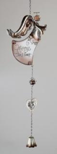 Weihnachtliche Hängedekoration Engel mit Herz und Glocke, 54 cm