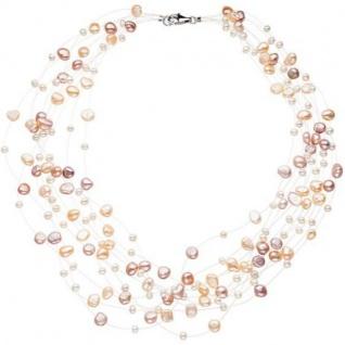 Collier Statement Perlenkette 10-reihig mit Süßwasser Perlen, 45 cm