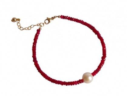 Gemshine Damen Armband Vergoldet Rubin Rot Perle Weiß