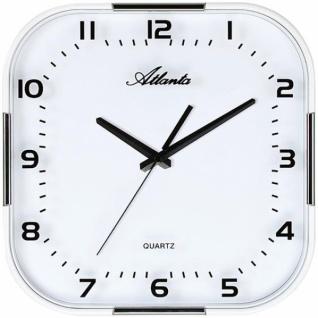 Atlanta 4455/19 Wanduhr Quarz analog weiß Silbern mit Glas leise