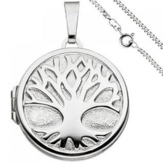 Medaillon Anhänger Baum des Lebens rund 925 Silber mit Kette 50 cm - Vorschau 1