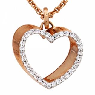 Anhänger Herz 585 Rotgold teilrhodiniert 34 Diamanten 0, 23ct.