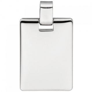 Anhänger Gravur Gravurplatte eckig 925 Sterling Silber massiv