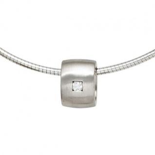 Anhänger 925 Sterling Silber matt mattiert 1 Diamant Brillant 0, 05ct.