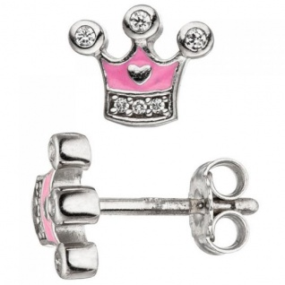 Kinder Ohrstecker Krone 925 Silber mit Zirkonia Ohrringe rosa Kinderohrringe