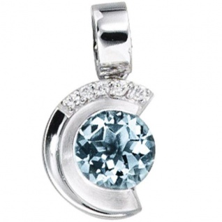 Anhänger 585 Weißgold mattiert 5 Diamanten Brillanten 1 Aquamarin blau