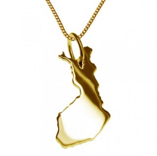 FINNLAND Kettenanhänger aus massiv 585 Gelbgold mit Halskette