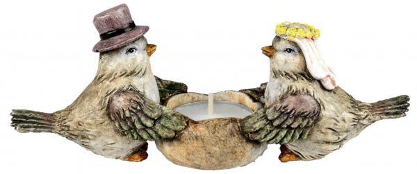 Deko Vogel Paar Vogelhochzeit als Teelichthalter aus Kunststein 19 cm